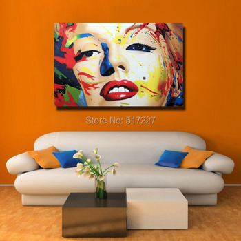 Free shipping 100% Handpainted pop art oil painting on canvas Celebrity portrait painting