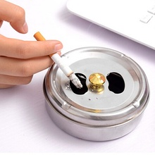 Stainless Steel Ashtray Creative Home New Practical Smoking Accessories  Lid Rotation Fully Enclosed Gadgets