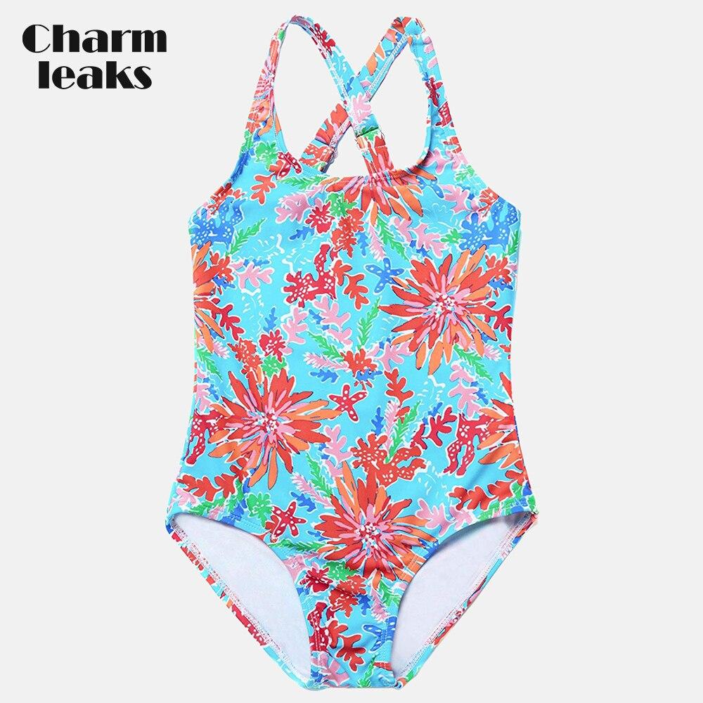 Charmleaks Girls 39 One Piece Swimsuits Flower Print Swimwear Kids Adjustable Strap Bikini Cute Beach Wear in Children 39 s One Piece Suits from Sports amp Entertainment