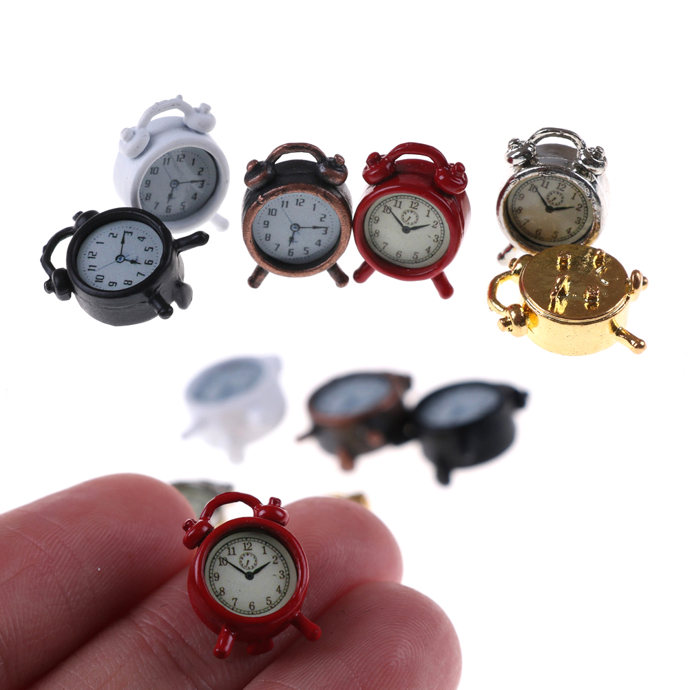 1PC 6 Colors 1:12 Scale Alarm Clock Doll Kitchen Living Room Miniature Dollhouse Mini Home Decoration Toy