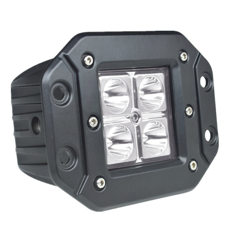 2 pieces 12W LED Work Light Motorcycle Tractor Boat Off Road 4WD 4x4 Truck 12V 24V Driving Worklamp Flush Mount Pods 12W