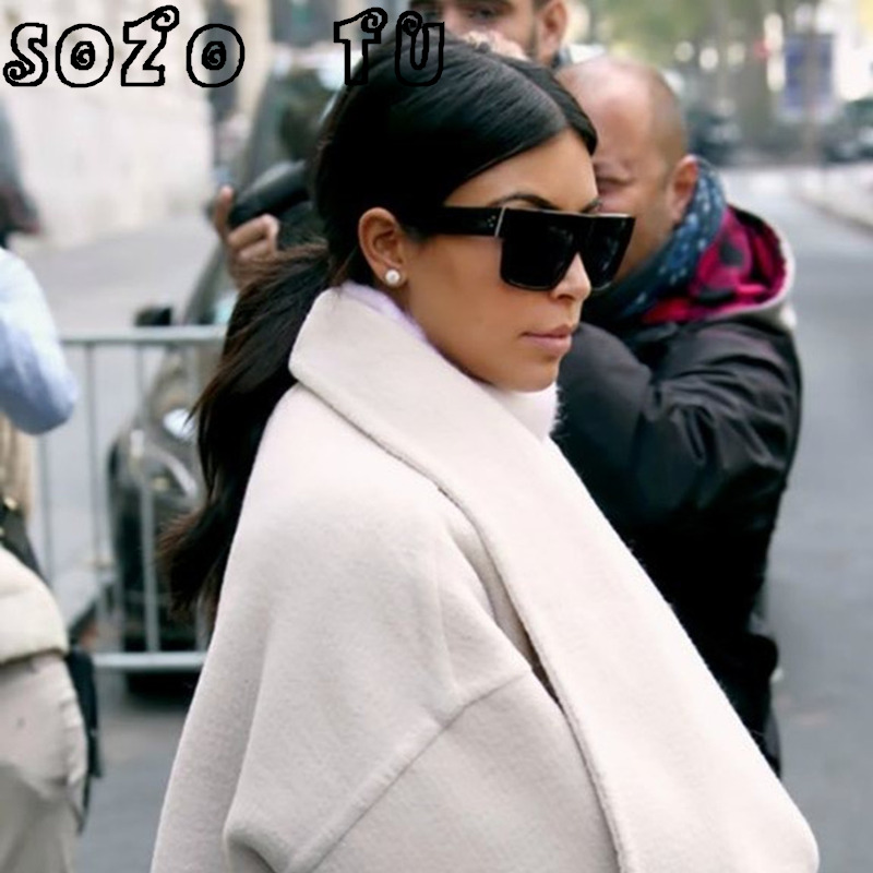 24867c40727 SOZO TU Oversized Rivet Sunglasses Women Brand Designer Inspired Sunglasses  Flat Top Glasses Vintage Kim Kardashian Sunglasses