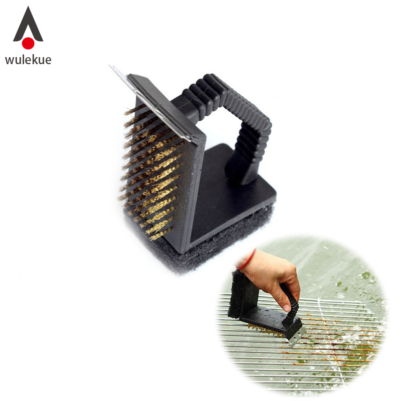 Wulekue Copper Iron Multifunctional BBQ Grill Scraper Wire Brush Barbecues <font><b>Cleaning</b></font> Tool