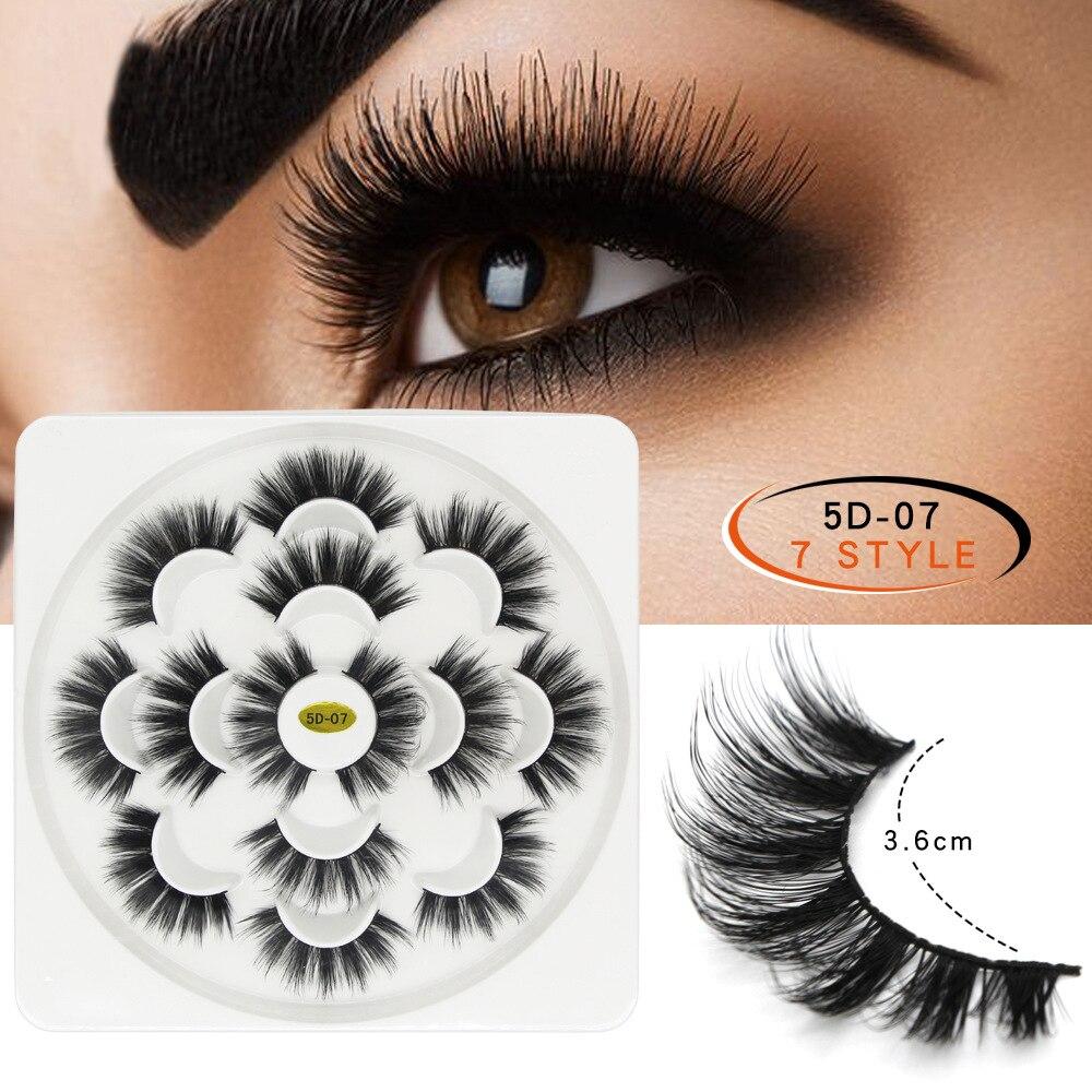 aa544e5091f 7Pair Faux 3D Mink Lashes Natural Long False Eyelashes Dramatic Volume Fake  Lashes for Professional Soft Mink Eyelash Extension