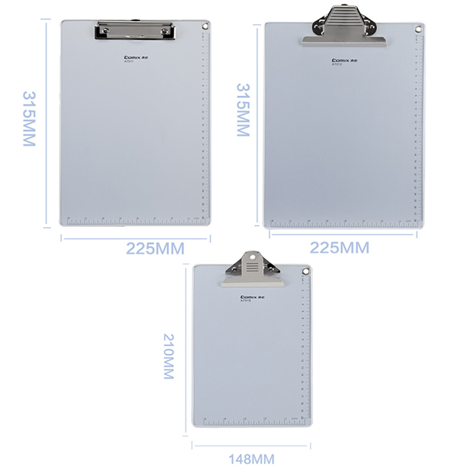 1PC Recycled Heavy duty Aluminum Clipboard strong Clip double side Non-slip design With Measurement Letter Size A4 A5