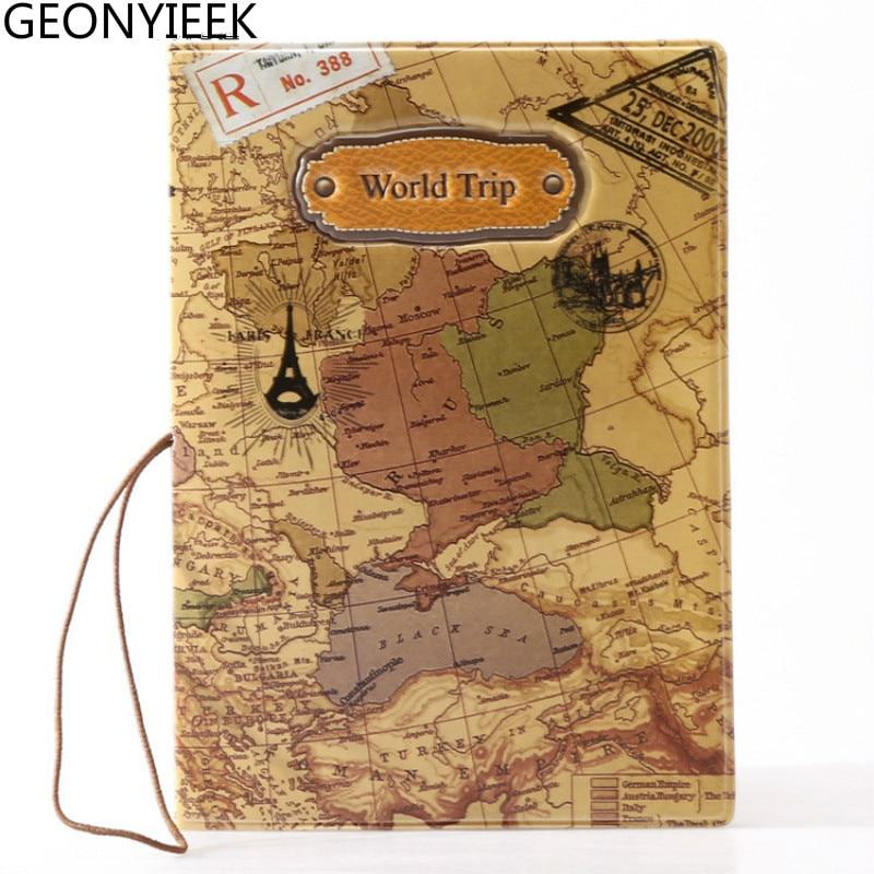 2018 New World Trip Map Travel Passport Covers for Men , PVC Leather ID Card Bag Passport holder Passport Wallets 14*9.6cm 3d design vintage world trip passport cover id credit card bag pvc leather passport holder 14 9 6cm