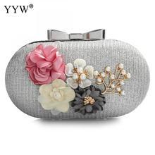 Elegante bolso de mano de cuero para mujer, bolso de hombro Floral, bolso de mano de día, monedero de boda, bolso de noche para mujer, negro, dorado y plateado