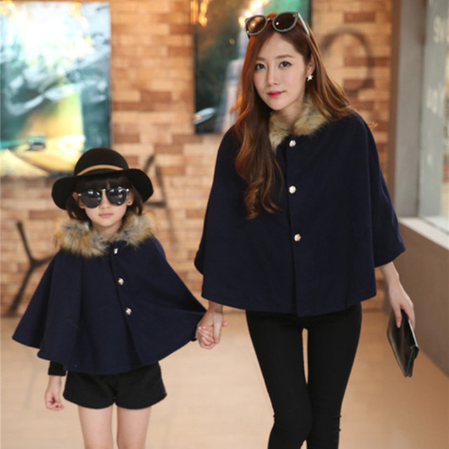 V-TREE NEW fashion mother & kids family matching outfits cloak coat thicken velvet mother daughter outfits girls winter coat
