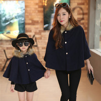 NEW Fashion Mother Kids Family Matching Outfits Cloak Coat Thicken Velvet Mother Daughter Outfits Girls Winter