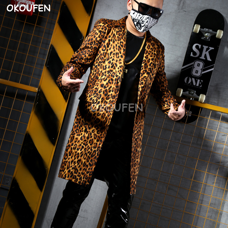 Sexy Yellow leopard print long suit Man casual suit Nightclub bar singer DJ stage costume party show performance jacket outwear