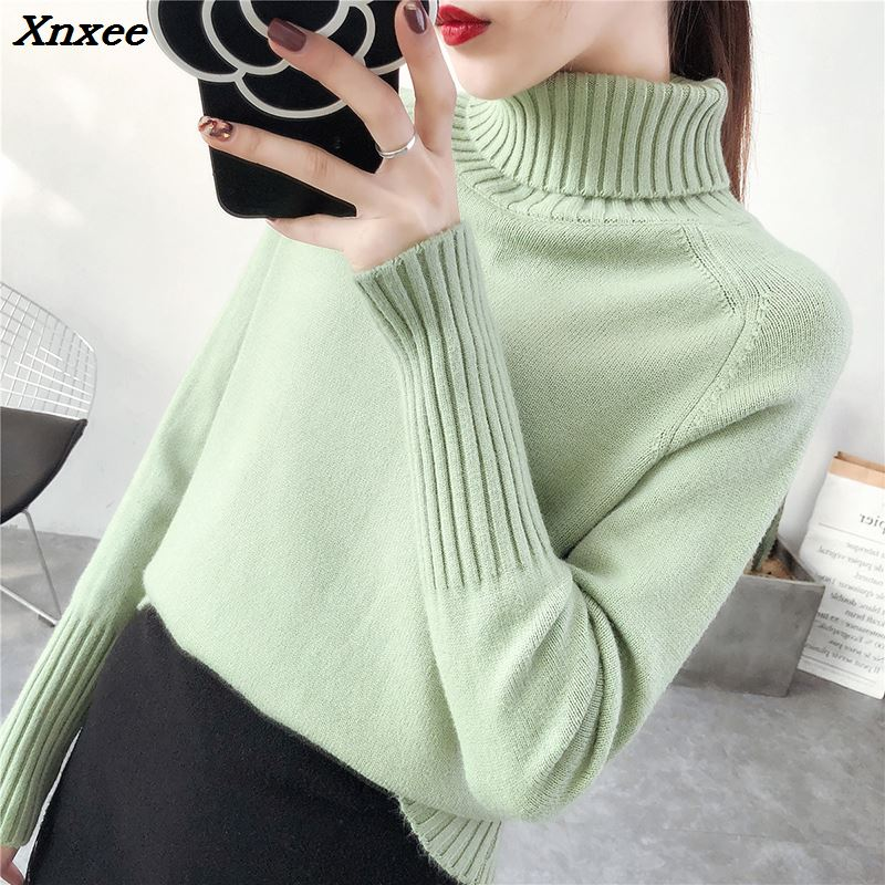 Spring turtleneck sweater 2018 fashion women winter sweater women pullover and sweater autumn female long sleeve knitted sweater in Pullovers from Women 39 s Clothing