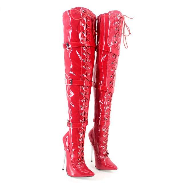 334bbb025 € 131.57 |Mode rouge verni cuir cuisse haute femmes bottes bout pointu  métal talons 19 Cm nouveauté 2017 Chaussure Femme Bottines dans Cuissardes  ...