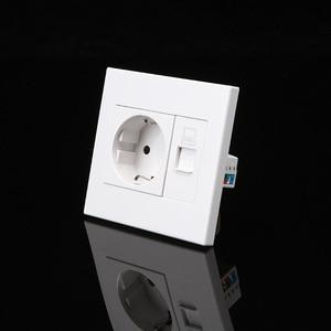 Image 4 - Enchufe de pared europeo con enchufe de Internet, 250v, 16A