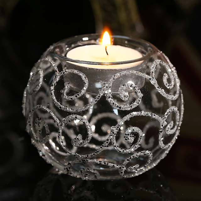 8cm Round Table Candle Holder Bling Bling Wedding centerpiece Glass Tealight Candlestick Xmas Festival Home decor