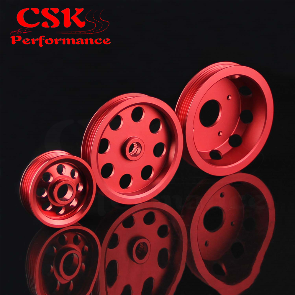 light weight aluminum Crank Pulley Kit fits for 1989 1998 SR20DET Nissan 240SX S13 S14 S15 SILVIA RED