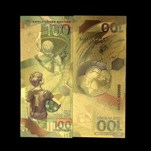 1pcs kleur Rusland 100 Roebel 2018 World voet bal Cup voetbal goudfolie herdenkingsmunt note Gift collection thuis decro(China)