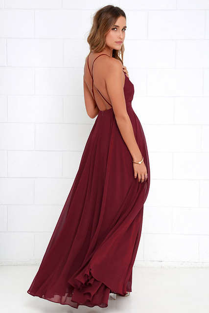 1bae814621 US $9.19 8% OFF|Women Plus Size Party Strap Fashion Bahemian Beach Chiffon  Backless Dress Sexy Sleeveless Off The Shouder Maxi Dresses New 2019-in ...