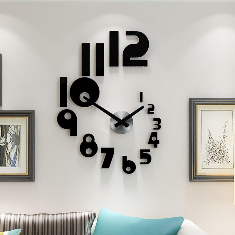 3D Creative Self-Adhesive DIY Wall Clock Watch Mute Quartz Living Room Home Decor Acrylic Horloge Mirror Wall Stickers Clocks