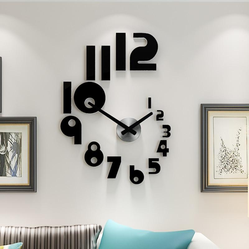 3D Creative Self Adhesive DIY Wall Clock Watch Mute Quartz Living Room Home Decor Acrylic Horloge Mirror Wall Stickers Clocks