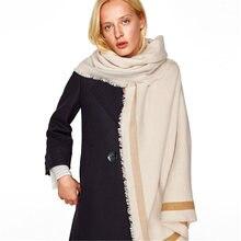 fd05a435cfce Nouveau mode féminine solide bande de couleur pashmina foulards femmes  couverture en cachemire écharpe dame hiver chaud épais ma.