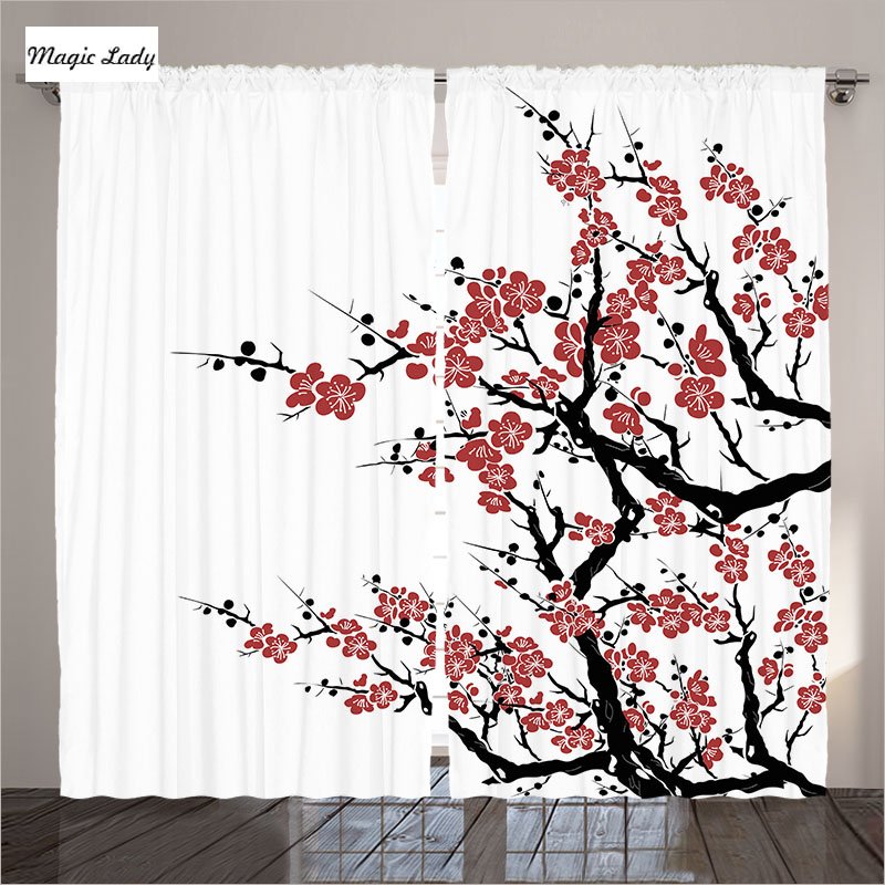 rideaux avec fleurs d cor asiatique collection plum arbre fleurs japonais printemps rouge noir. Black Bedroom Furniture Sets. Home Design Ideas