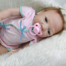 New Style Reborn Babies Girl 20 Inch 50 cm Lifelike Newborn Silicone Baby Doll Toy With Blue Eyes Kids Birthday Xmas Gift