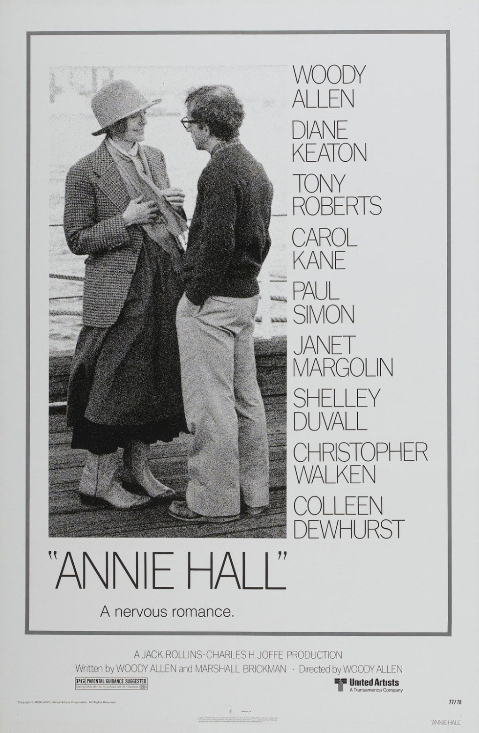 ANNIE HALL Movie Poster 1977 Woody Allen SILK POSTER Decorative painting 24x36inch image