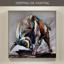 Artist Hand-painted High Quality Strong Bull Oil Painting on Canvas Modern Cattle Strong Bull Ready to Fight Oil Painting цена