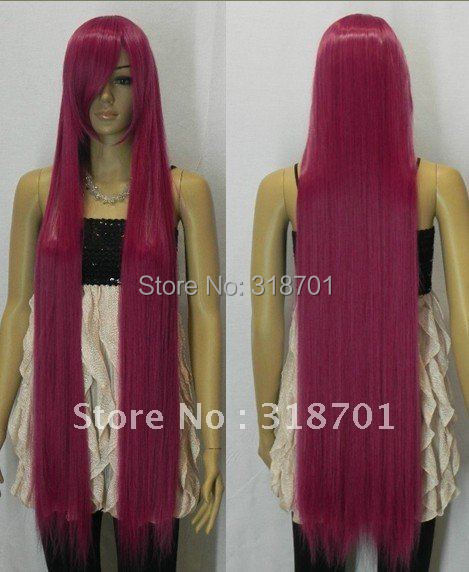 (Free Shipping) New arrival ~100cm Rose Red Long Straight Costume Cosplay Wig,Heat resistance fibre