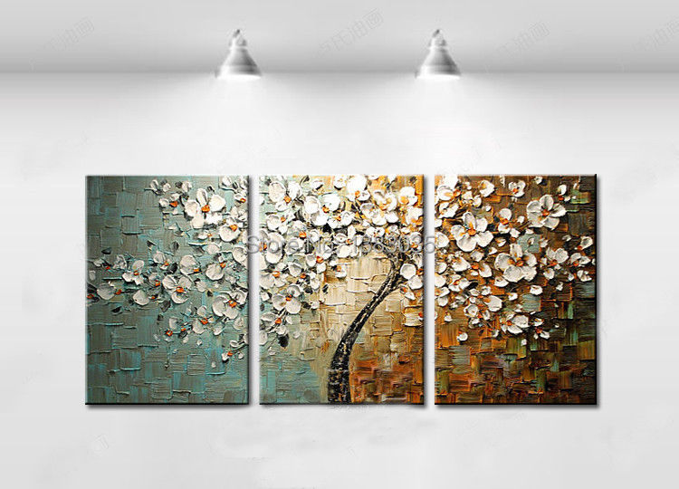 3pieces Modern Abstract Huge Wall Art Oil Painting On: Hand Painted Abstract White Tree Flower Textured Knife