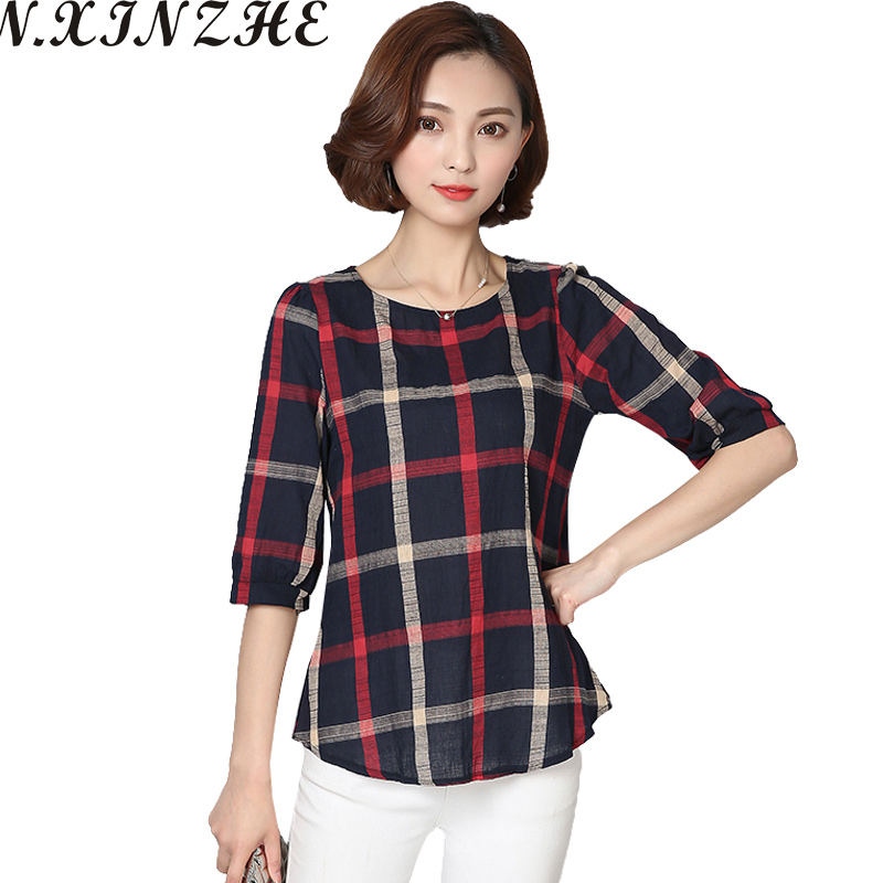 LZMZA Plaid   blouse     shirts   summer loose linen   blouse   tops women Casual Vintage Large Sizes   blouse   blusas