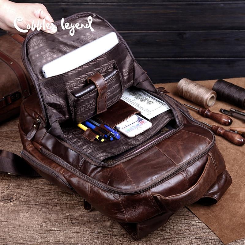 Cobbler Legend Brand 2019 Retro Style back pack Charming Genuine Leather Teenage Boys's Men 's Laptop Bag Backpacks For Men