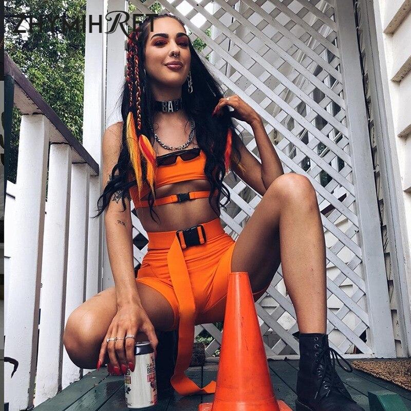 ZHYMIHRET Neon Shorts Com Cinto de Duas Peças Set Mulheres Bandagem Top Colheita 2 Pedaço Outfits Escavar Conjuntos De Treino mujer