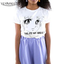 YEMUSEED WHO ATE MY BREAD Tee Shirt Women Harajuku Cute Girls Tears Printed T shirt Lady Tops XL Plus WMT176(China)