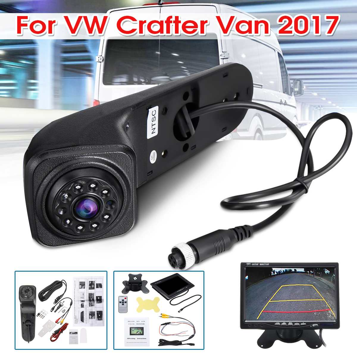 Car Reversing Camera Kit LED Rear View Rearview Camera + 7