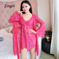 Zingirl Hollow Out Floral Print Sexy Mini Sleepshirts Women Summer 2 Pieces V Neck Lace Nightgowns