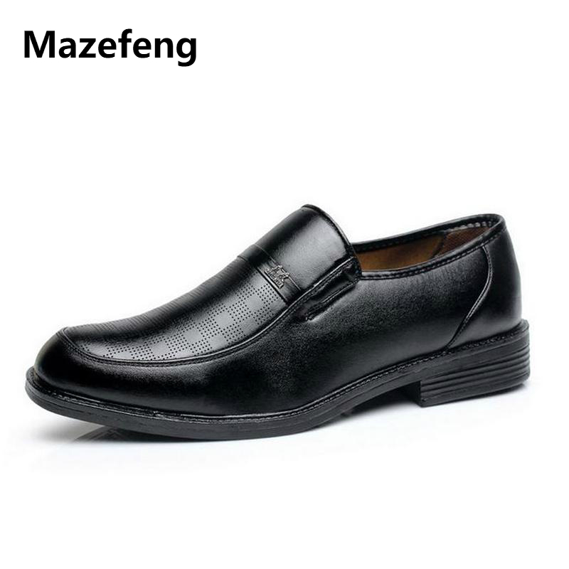 Mazefeng 2018 New Fashion Spring Autumn Men Dress Shoes Men Leather Shoes Round Toe Male Business Shoes Slip-on Solid Black mazefeng new fashion 2018 spring autumn men dress shoes business male leather shoes solid color men work shoes slip on round toe