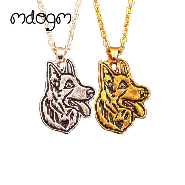 2018 cute german shepherd necklace dog animal pendant gold silver plated jewelry for women female girls