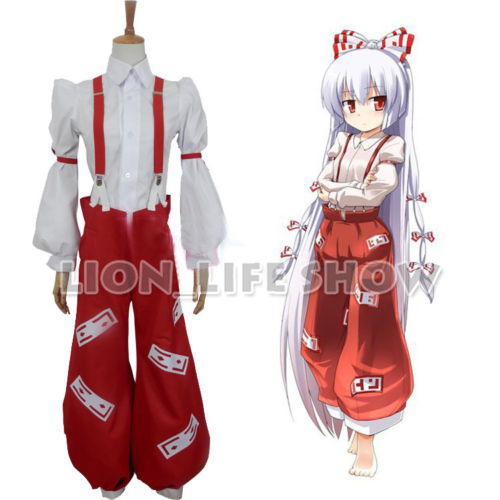 TouHou Project Fujiwara no Mokou Cosplay Costume Full Set With 11pcs Bow Tie-in Anime Costumes from Novelty & Special Use    1