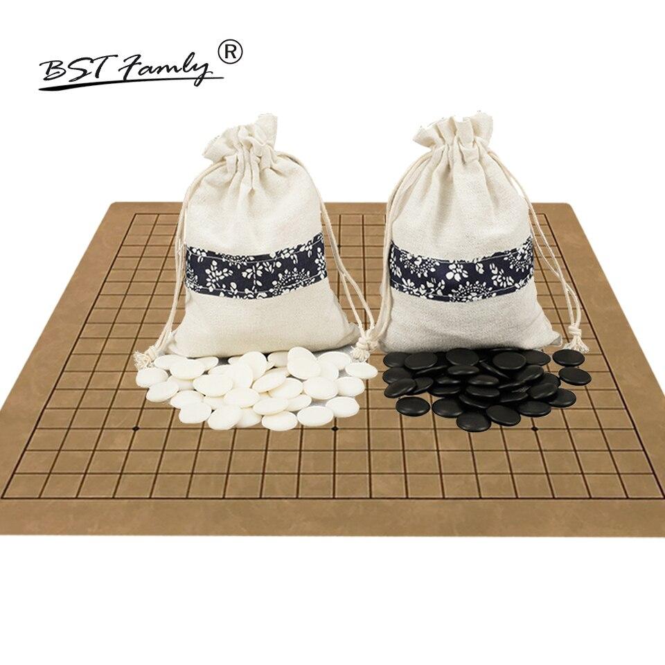 BSTFAMLY Go échecs 19 route 361 pièces/ensemble Chessman diamètre 2.2cm PU échiquier tissu sac chinois vieux jeu de Go Weiqi jouet cadeau LB08