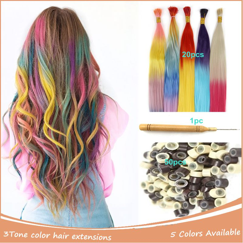 Straight Long Synthetic Hair Extension Mixed Color Hairpiece Rainbow