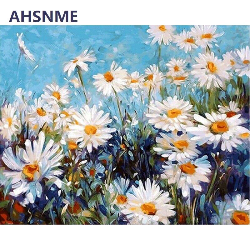 AHSNME Oil Portray Panorama Semi-finished Handbook Chrysanthemum Diy Oil Portray Kits Wall Artwork Image House Decor 05 Portray & Calligraphy, Low-cost Portray & Calligraphy, AHSNME Oil Portray Panorama Semi...