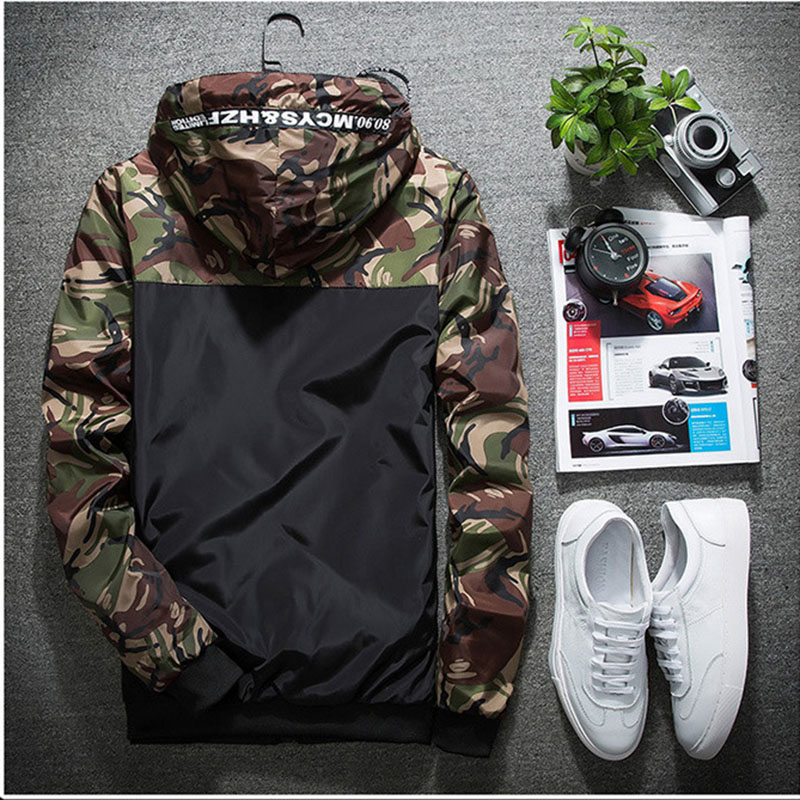 New Mens Camouflage Jacket Designer Spring Fashion Hood Slim Thin casual Jacket Coat Men Plus Size Outwear 5XL AF6682