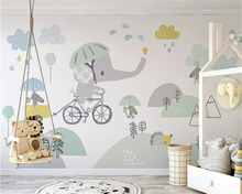 beibehang Custom size Eco 3d wallpaper cute elephant bike hamster cloud child background papel de parede wall papers home decor beibehang custom personalized cute bicycle elephant hamster cloud children background wall paper papel de parede papier peint