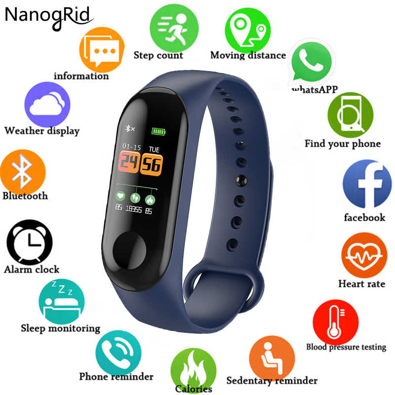 Nova m3 pulseira inteligente tela colorida criança miúdo watche para meninas meninos de fitness correndo rastreador esportes masculino & feminino pulseira inteligente