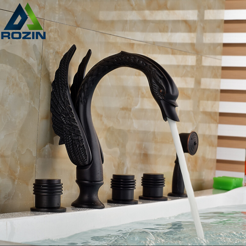 Deck Mount 5pcs Widespread Bathtub Tub Filler Taps Swan Shape Bath Mixer Taps Oil Rubbed Bronze