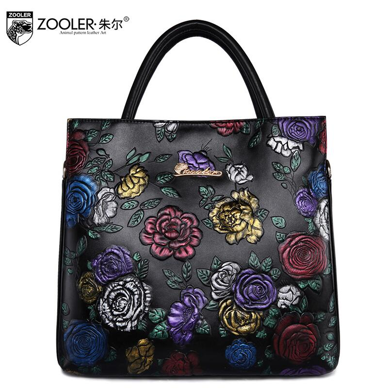 free delivery  2017 new leather European and American fashion large capacity shoulder Messenger bag Rose pattern handbag