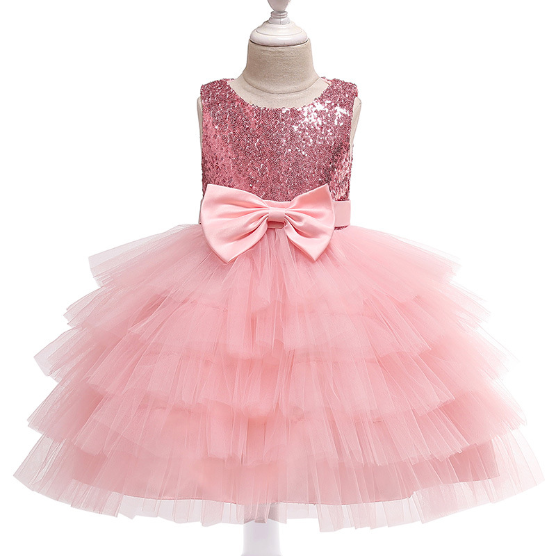 Girls-dresses-Tulle-Tiers-children-European-and-American-Holiday-Christmas-Wedding-dress-Sequin-Top-Bow-Sleeveless