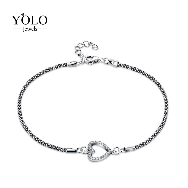 Romantic Trendy Bracelets For Women Heart Bracelets with AAA Cubic Zirconia Charm Bracelet Jewelry Accessories Love Gift