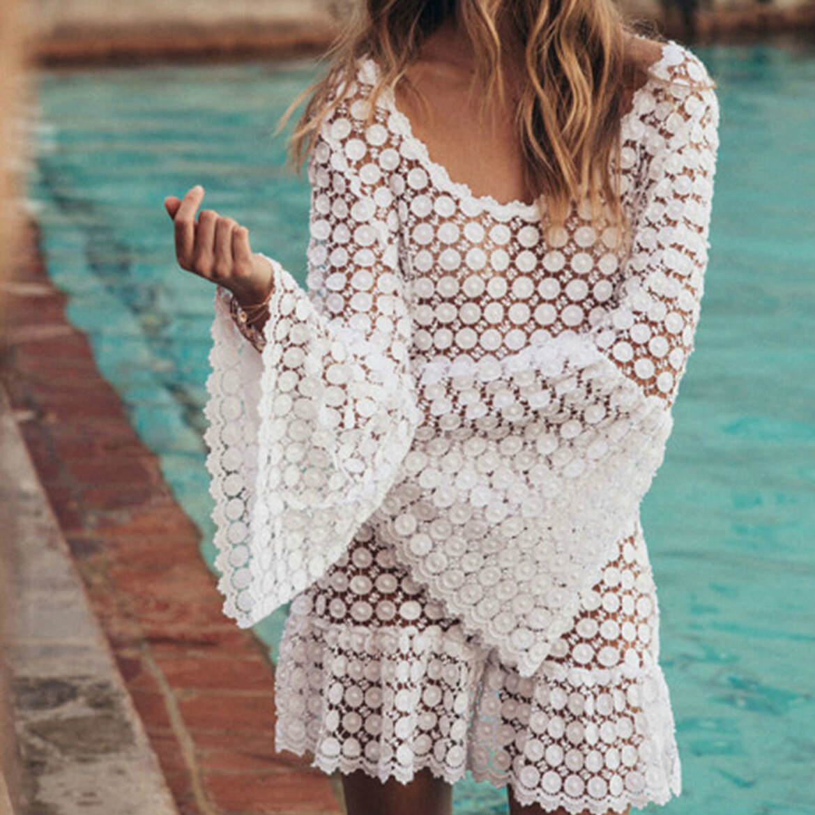 Fashion Women Lace Crochet Bikini Cover-Ups Female Flare Sleeve Sexy Summer Swimwear Beach Dress Cover Up Outfits